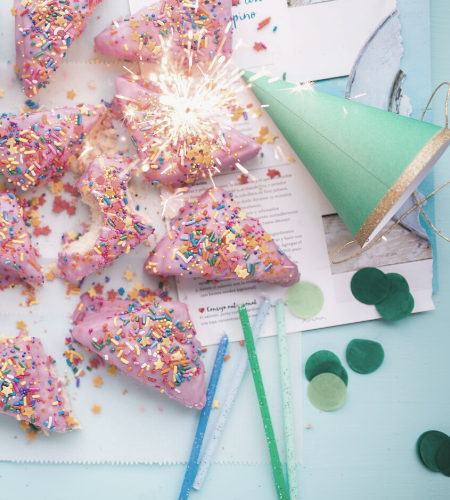 fairy bread and party decorations