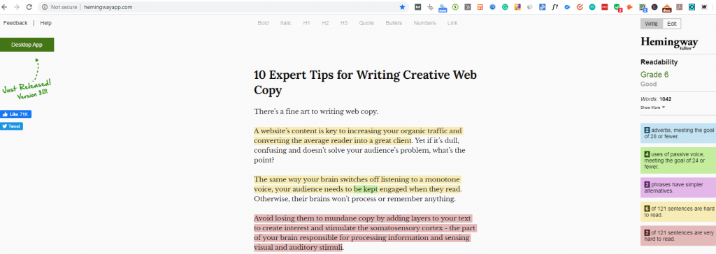 Hemingway-app-writing-creative-web-copy-tips